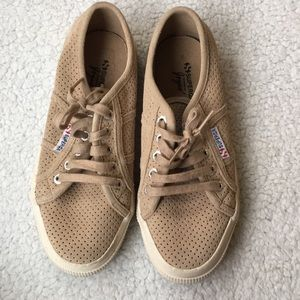 Superga Shoes - Brown soft leather sneakers
